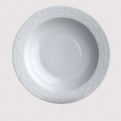 Byzanteum Blanc Rimmed Serving Bowl
