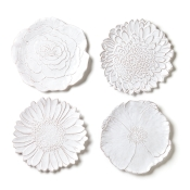 Assorted White Flower Salad Plates/ Set 4
