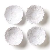 Assorted White Flower Small Bowls/ Set 4