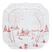 Country Estate Winter Frolic Ruby Santa's Cookie Tray - Naughty and Nice List