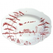 Country Estate Winter Frolic Ruby Serving Platter / Christmas Eve - 15""