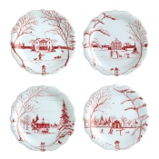 Country Estate Ruby &  Winter Frolic Party Plates / Set 4