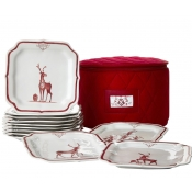 Juliska Country Estate Reindeer Games Ruby Party Plate Set/12