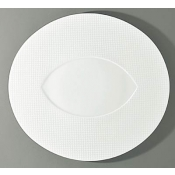 Checks by Thomas Keller Oval Flat Platter - Almond Well