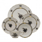 Chinese Bouquet Black 5 Piece Place Setting