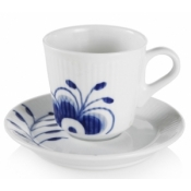 Royal Copenhagen Blue Fluted Mega Espresso Cups & Saucer - Set 6