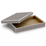 L'Objet Chevron Rectangular Box - Platinum + Grey Enamel - Medium