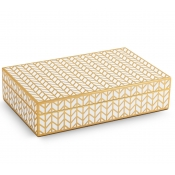L'Objet Chevron Rectangular Box - Gold + White Enamel - Medium