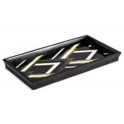 L'Objet Deco Noir Rectangular Tray - Black + Grey + White Natural Shells - Small