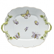 Royal Garden Square Cake Plate w/ Handles