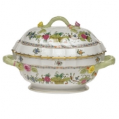 Indian Basket TUREEN W/BRANCH  2 QT
