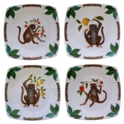 Lynn Chase Four Friends Canape Plates / Set 4