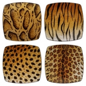 Lynn Chase Four Furs Canape Plates / Set 4