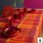 "Mille Wax Ketchup Tablecloth - 69"" Round"