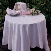 "Mille Rubans Blush Tablecloth - 69"" Round"