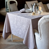 "Mille Charmes Taupe Tablecloth - 71"" x 118"""