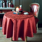 "Mille Charmes Ruby Mille Charmes Ruby Coated Tablecloth - 69"" Round"