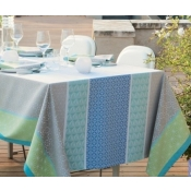 "Garnier Thiebaut Mille Geometry Lime Tablecloth - 61"" Square"