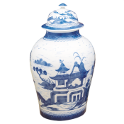 Mottahedeh Blue Canton Ginger Jar, Large