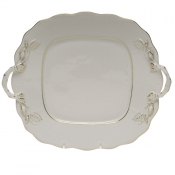 Golden Edge SQUARE CAKE PLATE W/HANDLES  9