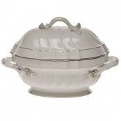 "Platinum Edge TUREEN W/BRANCH  (2 QT) 9.5""H"