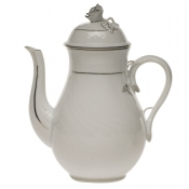 Platinum Edge COFFEE POT W/ROSE  (36 OZ) 8.5