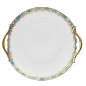 Syracuse Turquoise Round Cake Plate / Handles