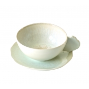 Plume White Pearl Tea Cup & Saucer
