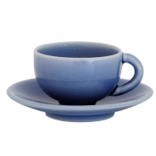 Tourron Blue Chardon Tea Cup & Saucer