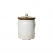 Le Panier Whitewash Canister with Wooden Lid - 7.5""