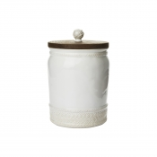 Le Panier Whitewash Canister with Wooden Lid - 10""
