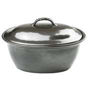 Pewter Stoneware Covered Casserole - Large