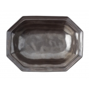 Pewter Stoneware Octagonal Serving Bowl - 12""