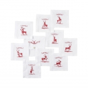 Juliska Country Estate Reindeer Games Cocktail Coasters Set/9 Reindeer with Pouch