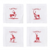 Juliska Country Estate Reindeer Games Team Sports Cocktail Coasters Set/4
