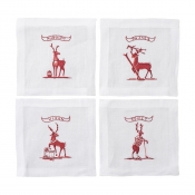 Juliska Country Estate Reindeer Games Solo Sports Cocktail Coasters Set/4