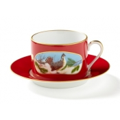 Lynn Chase Winter Game Birds Red Cup & Saucer - 2 Sets