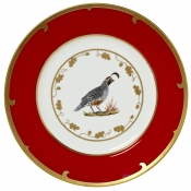Lynn Chase Winter Game Birds Red Charger / Quail