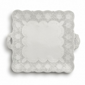 Merletto Antique Square Platter with Handles
