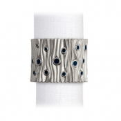 L'Objet Bois de Platine Napkin Jewels - Platinum + Midnight Blue Enamel