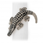 L'Objet Crocodile Napkin Jewels / Set 4 - Platinum + Black Crystals