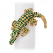 L'Objet Crocodile Napkin Jewels / Set 4 - Gold + Green Crystals