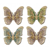 L'Objet Butterfly Napkin Jewels / Set 4 - Platinum + Multi-Color Crystals