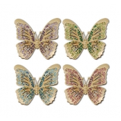 L'Objet Butterfly Napkin Jewels / Set 4 - Gold + Multi-Color Crystals