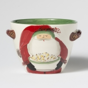 Vietri Old Saint Nick Handled Deep Serving Bowl with Popcorn