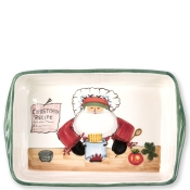 Vietri Old St. Nick Rectangular Baker with Chef