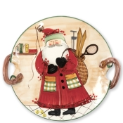 Vietri Old St. Nick Handled Round Platter - Assorted Sports