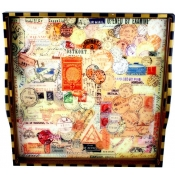 Annie Modica Postage Stamps Ottoman Tray