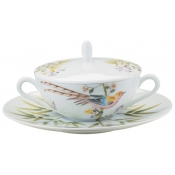 Raynaud Paradis Cream Soup Covered Cup & Saucer - White