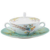 Raynaud Paradis Cream Soup Covered Cup & Saucer - Turquoise